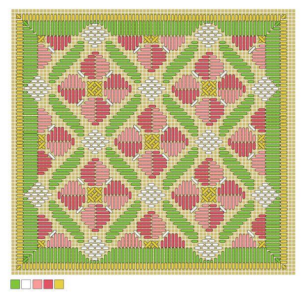 Rose Romance Long Stitch Needlepoint Pattern: Full Color Working Chart