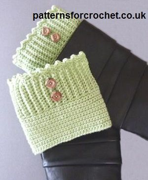 Free crochet pattern for boot cuffs by Patterns For Crochet. Walk around in style and keep your legs warm too!