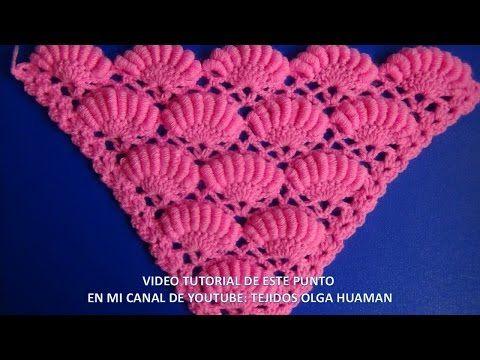 "chal triangular tejido a crochet paso a paso en  punto rococo. Chal triangular o en ""V"" Tejidos a crochet y/o ganchillo paso a paso en video tutorial, tejid..."