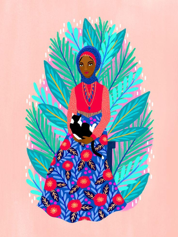 Jess Phoenix illustrated women of color | floral illustration | floral painting | portrait