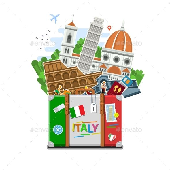 Concept Of Travel Or Studying Italian.  - Travel Conceptual