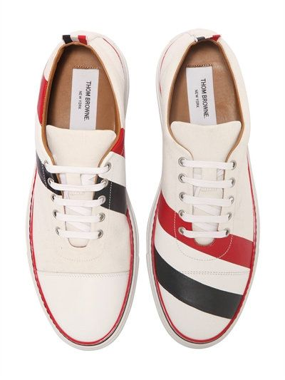 THOM BROWNE - STRIPED COTTON AND LEATHER SNEAKERS - SNEAKERS - WHITE/MULTI - LUISAVIAROMA