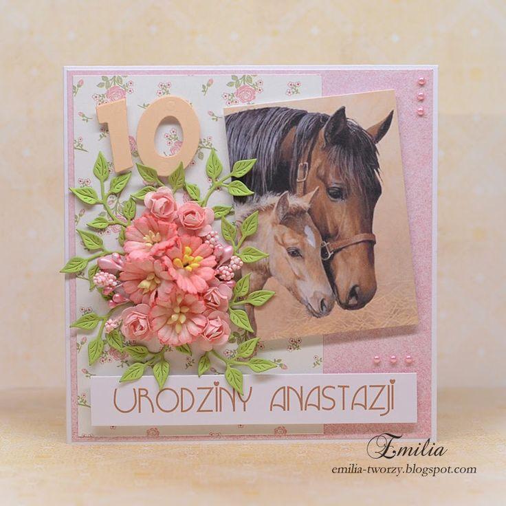 Kartka urodzinowa z koniem/Birthday card with horses