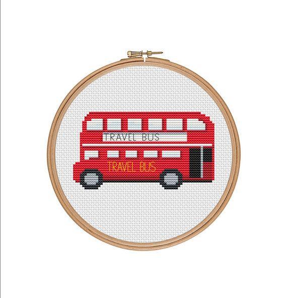 Cross stitch pattern, London bus, Red bus, London red bus, London sign, Double Decker Bus, London city, London town, Cross stitch chart, PDF
