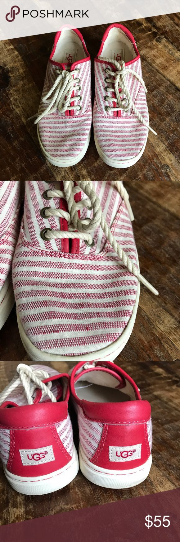 UGG Sneakers Super cute red striped shoes in excellent condition with no visible flaws. Super clean inside and out. UGG Shoes Sneakers