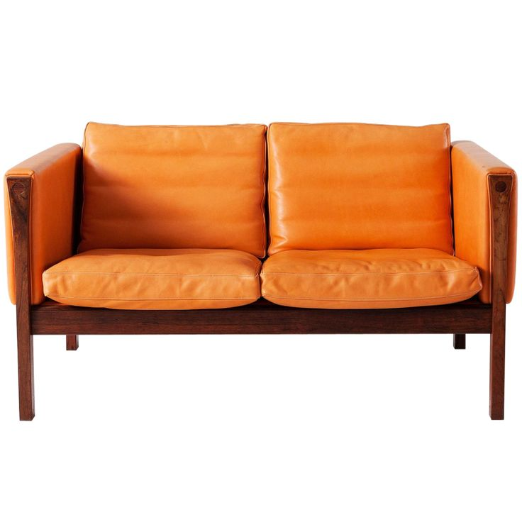 Orange Leather Two Seater Sofa By Hans Wegner In Rosewood