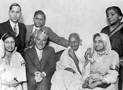 Charlie Chaplin with Mahatma Gandhi, when the latter visited London.
