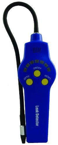 """Supco HLD200 Refrigerant Leak Detector, 32/125F Operating Temperature by Supco. $125.30. Refrigerant leak detector by pinpointing a system leak quickly, the HLD200 takes the time and frustration out of leak detection. Pump driven, and with five (5) sensitivity levels, large or small leaks can be found efficiently. Too loud for the audible tick. The seven segment LED scale identifies when the leak is found. Features: 12"""" gooseneck, replaceable sensor tip, protective sheath inclu..."""