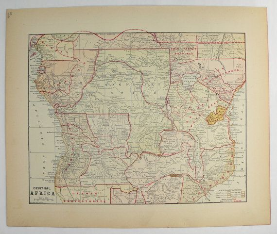 Central Africa Map, Congo Mozambique Angola Map 1896 Vintage Map of Africa, Lake Victoria, Africa Gift for Traveler, Tanzania Rwanda Kenya available from OldMapsandPrints.Etsy.com #CongoAfrica #KenyaAfrica #CentralAfricaMap