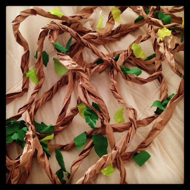 VINES.... just in case you need to decorate... brown craft paper or paper bags cut into strips & roll/twist them... cut out leaves with different colors of green construction paper & attach leaves with glue gue...