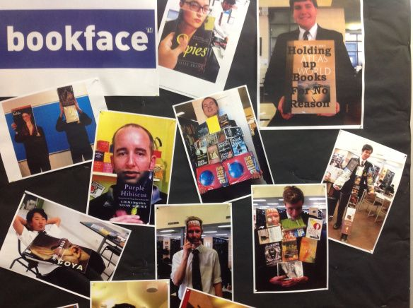 Bookface competition. Involve teachers as well as students.