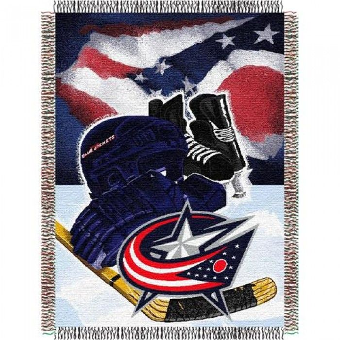 Columbus Blue Jackets NHL Woven Tapestry Throw (Home Ice Advantage) (48x60)  This loom woven triple layer tapestry throw blanket is fringed on all 4 sides. This blanket can be used at the game, on a picnic, in the bedroom, or cuddle under it in the den while watching the game. Use it as a room accent, bed covering, throw blanket or wall hanging. They are easy to care for, and are machine washable and dryable. This blanket is made of 100% acrylic. Actual item will vary from image.