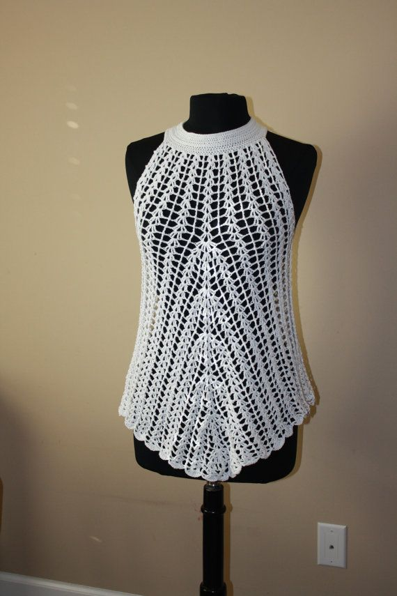 White crochet tunic. Summer crochet tunic. by CROCHEThatsBYolga