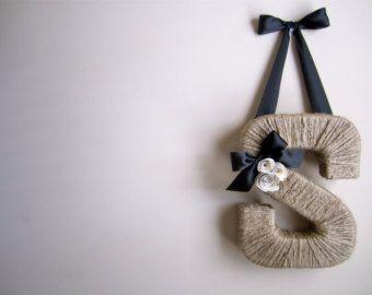 The Original Jute Monogram Wreath. Handmade Jute Letter.  Twine door hanging. Jute Letter. Letter Wreath. Summer Door Hanging.  Jute Wreath