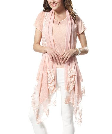 Another great find on #zulily! Pink Lace Vest & Tee - Plus by Simply Couture #zulilyfinds