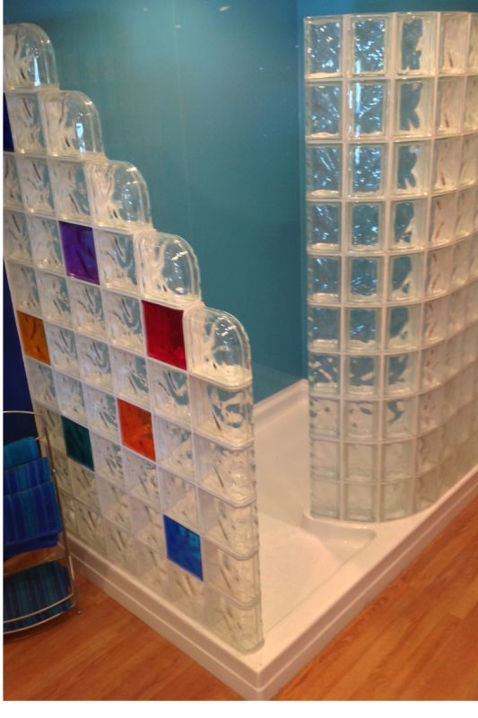 Superb Adding Color With Shower Wall Panels And Glass Blocks