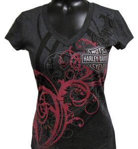 Harley-Davidson® Womens V-Neck Shirt - Flourished - Charcoal Gray - 302916140