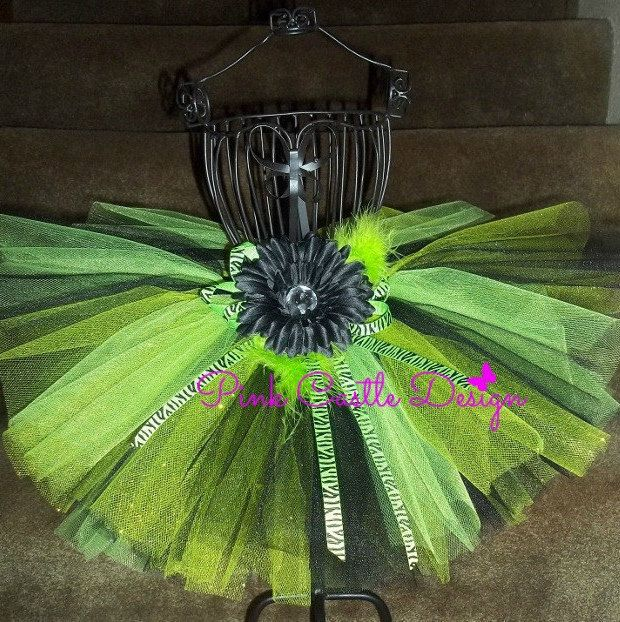 Pin this and follow Pink Castle Design and receive a coupon code for a future purchase!!  Lime Green Tutu, Zebra Tutu, Black Tutu, 1st Birthday tutu, Zombie Slayer tutu, Pageant Tutu, Baby tutu, Toddler tutu, Girl tutu, Halloween - pinned by pin4etsy.com