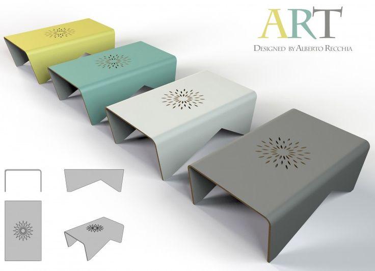 ART è un tavolino da salotto con una struttura in legno di multistrato curvato. La decorazione sul piano viene realizzata con la tecnica del taglio laser.