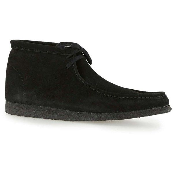 TOPMAN Black Suede Wallabee Boots (£65) ❤ liked on Polyvore featuring men's fashion, men's shoes, men's boots, black, mens suede boots, mens suede shoes, mens black boots, mens black suede boots and mens wedge shoes