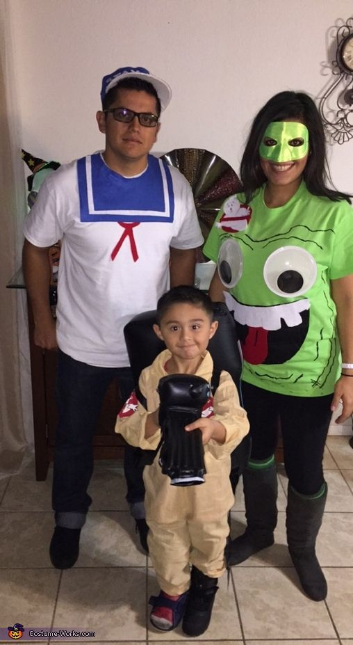 Christina: Charlie our four yearold is a Ghostbuster with chargeable pack and gun! Dad- Joey is wearing Stay Puft shirt with matching hat!! All made from felt and white shirt and...
