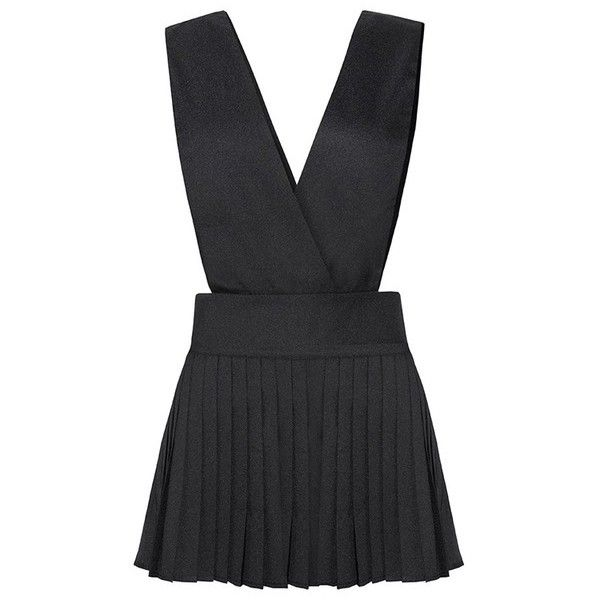 Black Cross Front Pleat Pinafore Skirt ($9.90) ❤ liked on Polyvore featuring skirts, pinafore skirt, knee length pleated skirt and pleated skirt