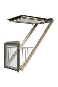 Střešní okno Galeria se snadno promění na balkon v podkroví