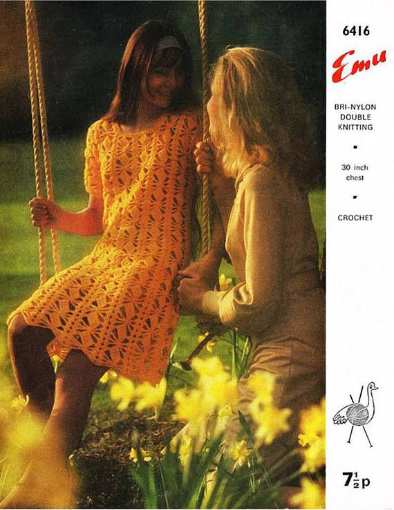 PDF Vintage 1970s Womens Ladies Dress Crochet Pattern