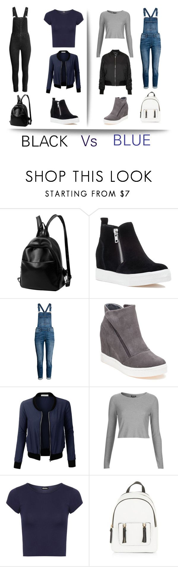 """Black Dungarees Vs Blue Dungarees? Which Is Better?"" by alishajannat ❤ liked on Polyvore featuring Steve Madden, LE3NO, Topshop, WearAll and New Look"