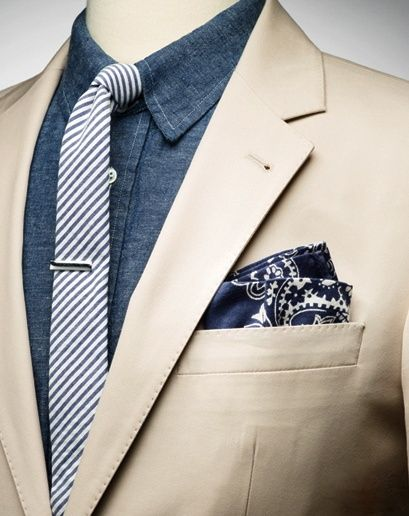 Cotton Skinny Tie with Pocket Square and Tie Bar