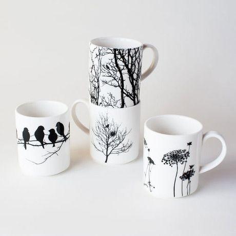 Naturescape Porcelain Mugs - Set of 4