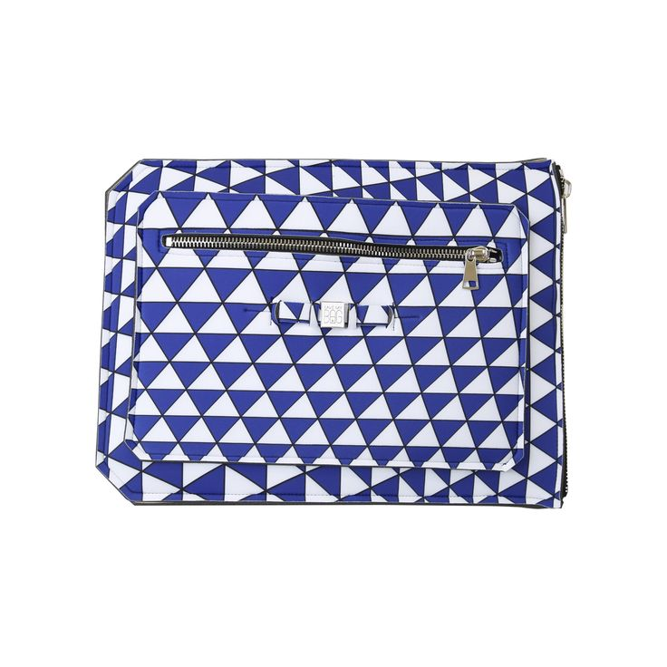 A super-light clutch ideal to shield and securely transport your 15 inch laptop, tablet or documents. Contrasting colours add a pop of flair to your work wardrobe.  Size  39 x 29.5cm  310g  Made in Italy  Vegan Friendly  Made from Poly-Lycra Fabric   Triangle