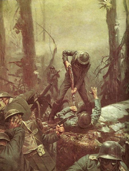 U.S. Marines in action at the Battle Belleau Wood in June 1918. - painting by Tom Lovell.