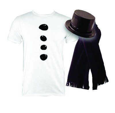 Snowman Costume T-Shirt with Hat & Scarf - Christmas Mens