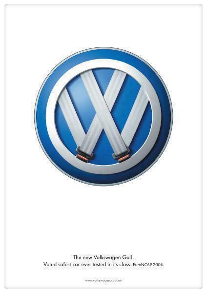 Great art direction for the VW Golf ... voted safest car ever in its class.