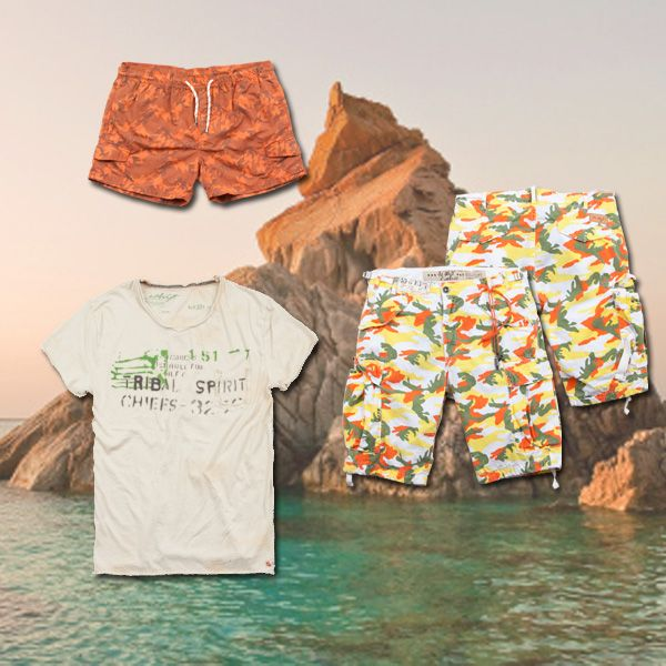 www.40weft.com Summer? ...sea! #holidaylook #40weft #SS2014 #holidaytips #outfit #menfashion #swimsuit #camouflage #orange #colorful #sea #fashionblogger #repin