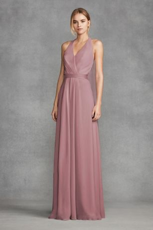 Chiffon Halter Bridesmaid Dress With Tulle Bow Vw360418
