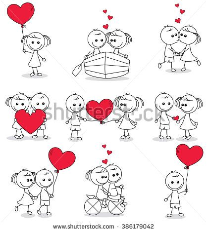 collection set of cute couple doodle with hearts