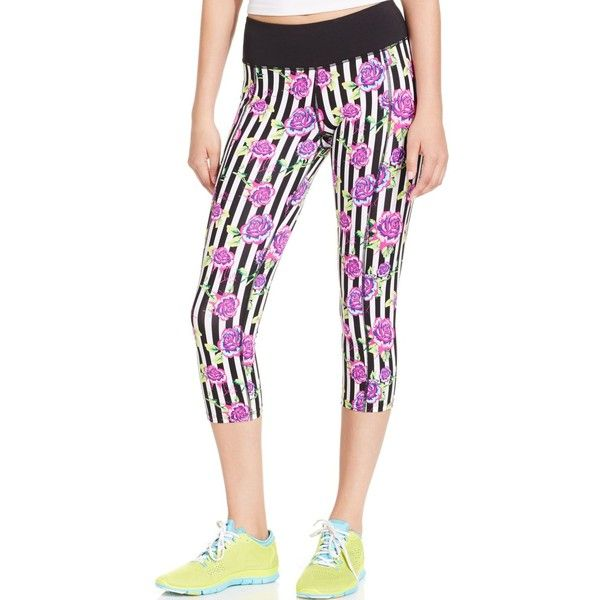 Betsey Johnson Gooey Roses Print Cropped Leggings ($54) ❤ liked on Polyvore  featuring pants