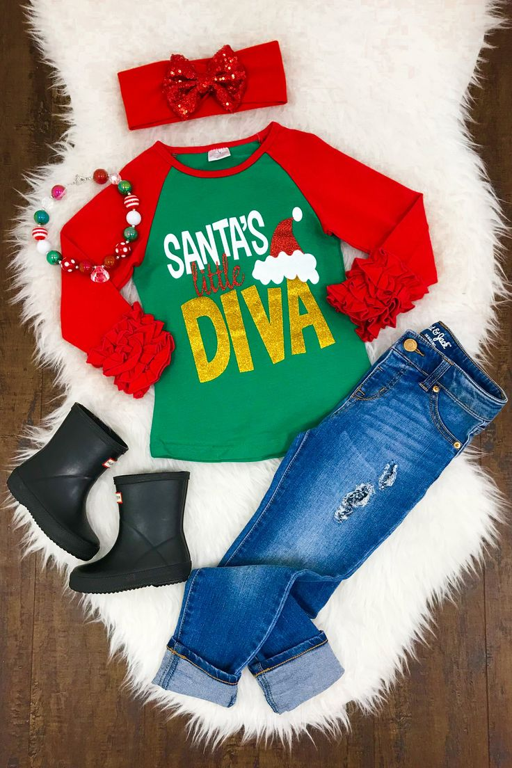 """Santa's Little Diva"" Ruffle Sleeve T-Shirt"
