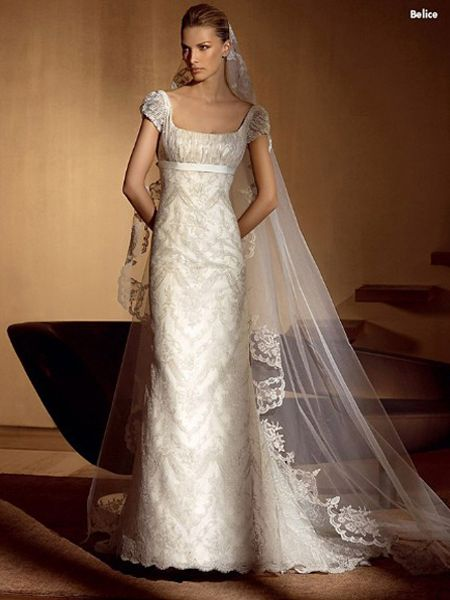 Square Empire Wedding Dress