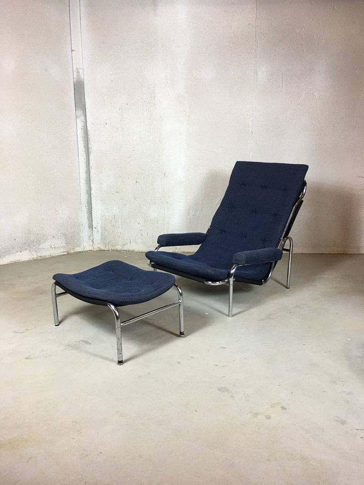 Bruno Mathsson Lounge Chair and Ottoman, Mid Century Modern Chair, Modern Armchair, Living Room Chairs, Metal Chair, Easy Chair by PatinaDetroit on Etsy
