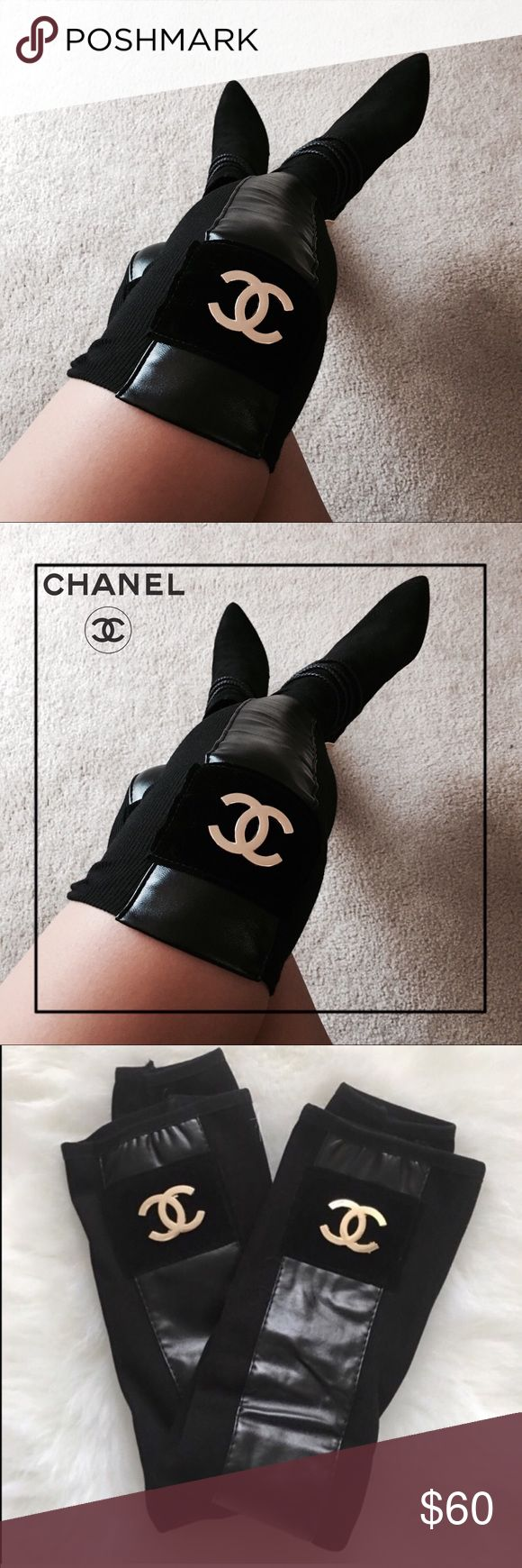 """‼️SALE‼️⚜️CHANEL® Luxury OverTheKnee LegWarmers ⚜️ ⚜️CHANEL® Luxury Over The Knee Leg Warmers ⚜️   CHANEL Brand New Luxury """"Over the Knee"""" Bootie Legwarmers   Knit Stretch Material, PU leather and gold metallic logo C     One Size l (Price Reflects, Not Auth) CHANEL Shoes Over the Knee Boots"""
