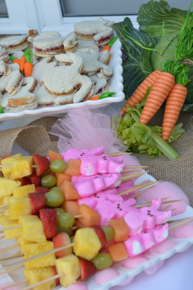 fruit kabobs bunny themed food ideas. Some Bunny is One birthday party.