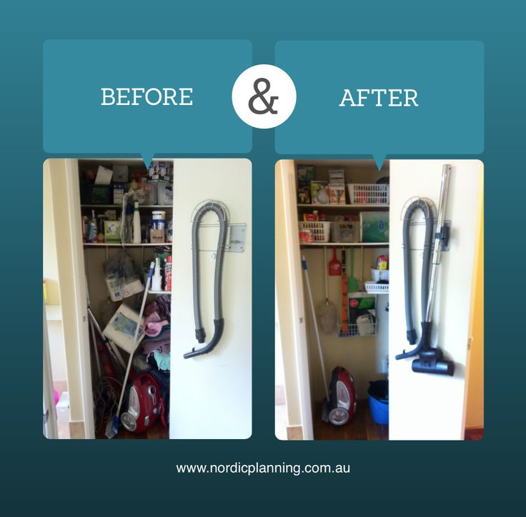 Before & After: Crowded and cluttered cleaning cupboard turned into a functioning storage area of cleaning and household supplies.  Kaarin, Professional Organiser at Nordic Planning in Perth