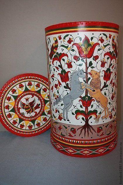 Большой короб из бересты с росписью - короб для хранения,береста,пермогорская роспись