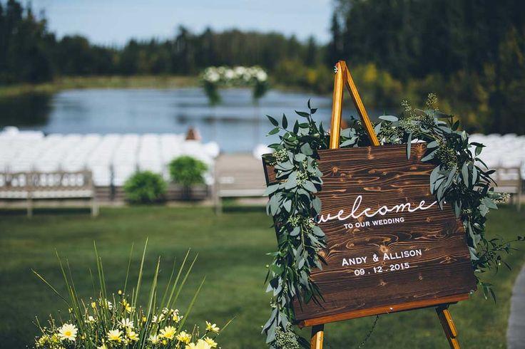 Beautiful welcome sign at this outdoor Elk Ridge Resort  wedding ceremony. https://mjand.co/elk-ridge-resort-wedding-photo/#!prettyPhoto[1]/https://mjand.co/me/uploads/2015/11/MJCO_WEDD_AndyAllison_0089.jpg