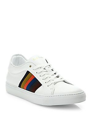 Paul Smith Ivo Calf Leather Trainer Sneakers - White Color - Size