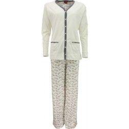 Sneeuwwitte dames pyjama met verticale donkere streep middenvoor op de jasjesachtige top met bloemetjesbroek
