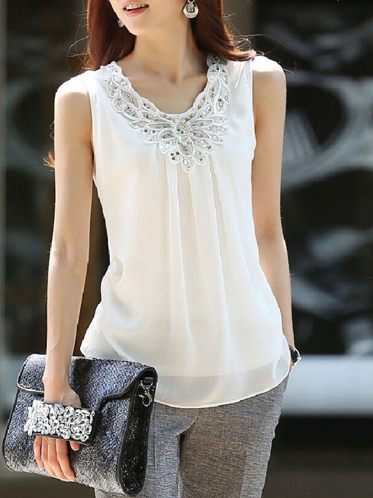 Round Neck Beading Glitter Plain Sleeveless T-Shirt